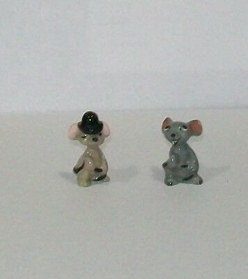 2 Hagen Renaker Mice Miniature Figurines Vintage City Mouse & Mama Holding Tail