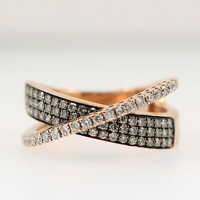 .79 CT Champagne & White Diamond 14kt Rose Gold Criss Cross Band Ring Size 7