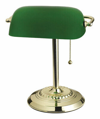 Living Accents 13.5 in. H Bright Green Bankers Lamp