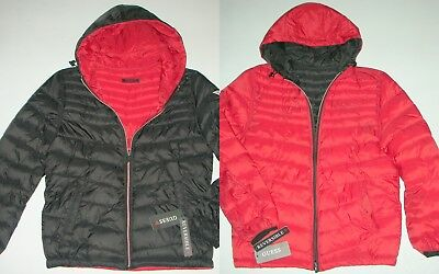 1 Guess men's Black Red reversible Jacket Lightweight Puffer Hooded winter Coat