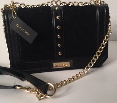 New Arrival! Bebe Black faux Leather Quilt Crossbody Bag Purse Clutch Gold Chain