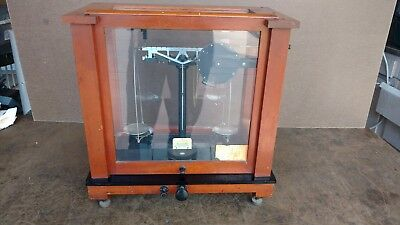 Antique Scale Christian Becker Chainomatic Wood Apothecary Analytical Balance
