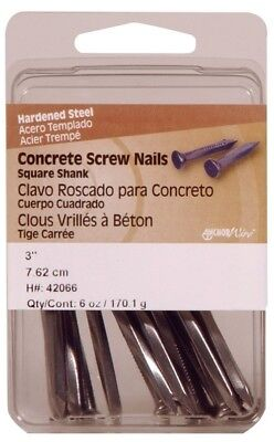 "Hillman Concrete Screw Nails 3 "" Square Steel Clamshell Pack of 5"