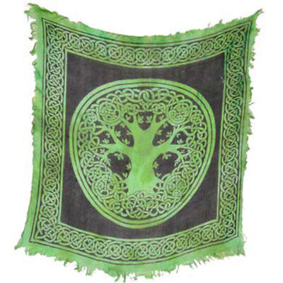 """NEW Tree of Life Altar Cloth 18"""" Green Rayon Fringed Celtic Knot Design"""
