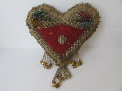 Antique Early 1900 IROQUOIS Glass Beaded Pin Cushion Heart Shaped Whimsy