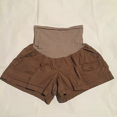 Oh Baby Motherhood Maternity Shorts Sz XL Brown Stretchy Pocket Full Belly Panel