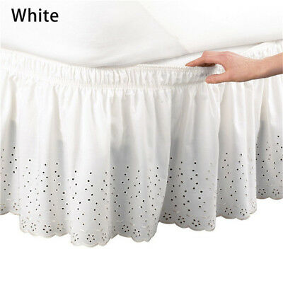 Elastic Embroidered Bed Ruffle Skirt /Valance Easy Fit Wrap Around Soft Queen