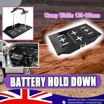 UNIVERSAL CAR BATTERY TRAY +  HOLD DOWN  DUAL DEEP CYCLE CLAMP KIT135mm-190mm