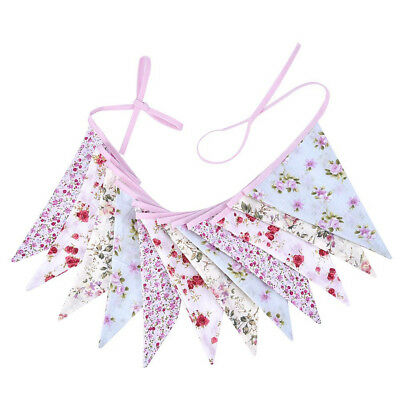 Vintage Chic Floral Double Sided Fabric Bunting 3.2m 12 Flags Party Banner A1H7