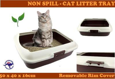 Cat Litter Box Tray With Rim Non Spill Portable Kitten Toilet Large Kitty Pan