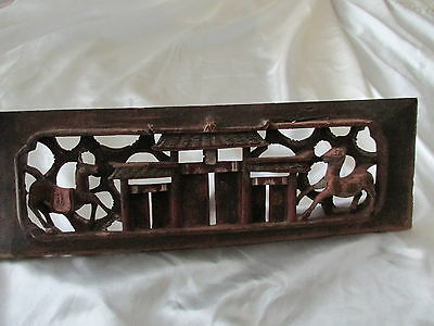 Antique Chinese Wooden Panel Paint remains Early horses Temple Detailed Carving