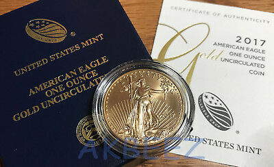 * 2017-W $50 1 Oz Gold American Eagle Burnished 17EH ** LOWEST MINTAGE EVER **