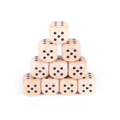 10x wood dice 12mm kid toys game 6 sided dice number or point FR