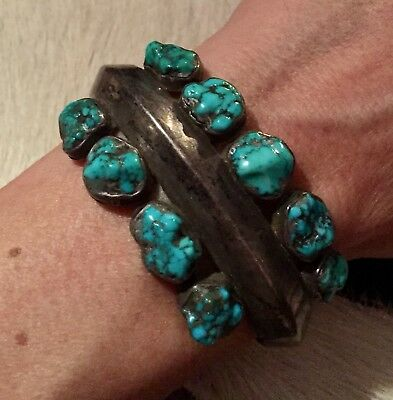 Vtg Heavy Old Pawn Fred Bowannie Sr. 925 Sterling Turquoise Nugget Cuff Bracelet