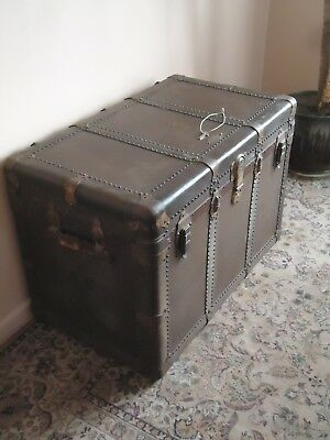 "Antique Rare ""enduro"" Steamer Trunk With 2 Trays & Lock/key"