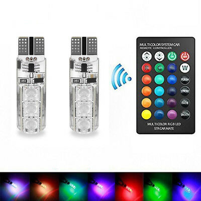 2X LED 5050 RGB T10 Remote Controller Lamp Color Chang Car Bulb Wedge Side Light
