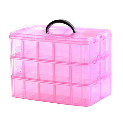 3 Layer Portable Plastic Nail Art Makeup Container Manicure Storage Boxes(R F6Q5