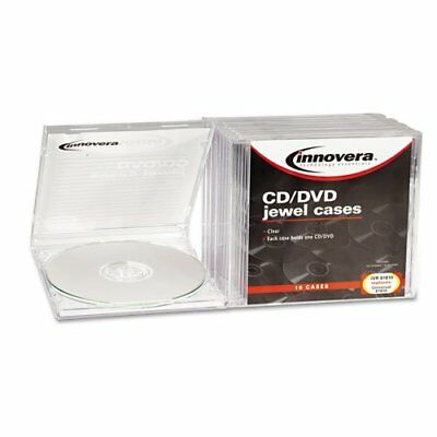 Innovera CD/DVD Standard Jewel Cases 10 per Pack Clear Storage Set NEW