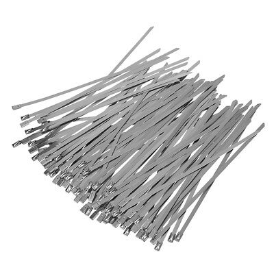 100pcs 7.9 Inches Stainless Steel Exhaust Wrap Coated Locking Cable Zip Tie Y5P1