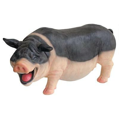 Laughing Pig Statue Indoor/Outdoor Resin Farm Animal Collectible Hand Painted