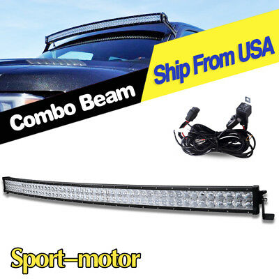 700W 52inch LED Light Bar Curved Flood Spot Truck Jeep Roof Driving 4x4 Offroad