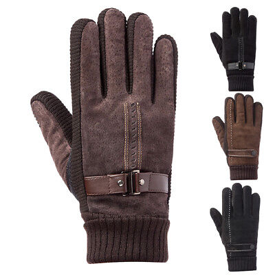 d42f0c4b28d02 1Pair Outdoor Winter Men Sport Bike Driving Windproof Warm Leather Gloves  Gifts