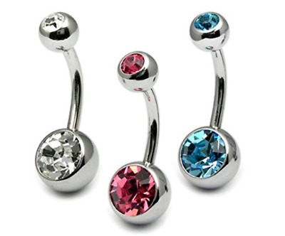 3 Double Crystal Gem Navel Bars Belly Piercing Ring 316L Surgical Steel 14 Guage
