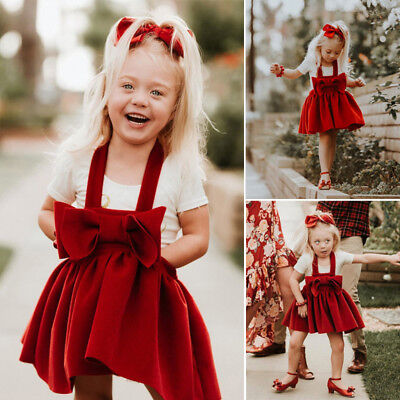 AU Stock Kids Baby Girls Sleeveless Bow Party Skirt Dress Suspender Clothes 2-6Y
