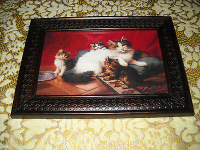 MOTHER CAT WITH KITTENS 4 x 6 brown framed picture Victorian style animal print