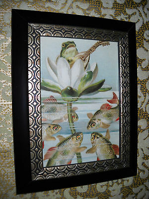 FROG SINGS TO FISH 3 X 5 Small black framed animal picture Victorian style print