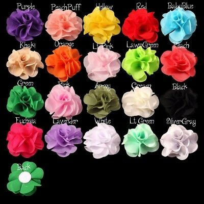 "30pcs 2.6"" Soft Chic Artifcial Fabric Chiffon Flower For Headbands"