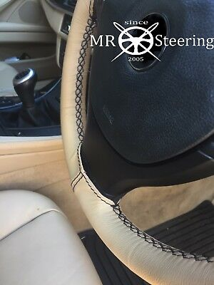 For Nissan Note Mk1 Beige Leather Steering Wheel Cover 04-12 Black Double Stitch