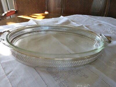 """Vintage large  Silver Plate Serving Dish W/ Oval Pyrex 20"""" Casserole Christmas"""