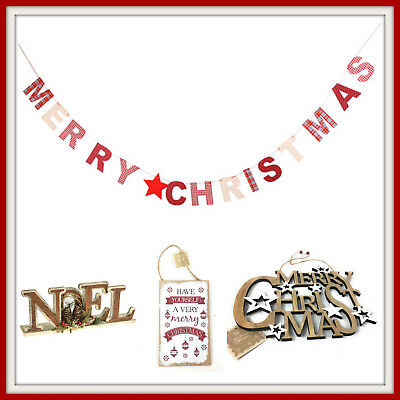 Merry Christmas Sign Hanging Decorations Festive Xmas Home Wooden Plaques Shabby