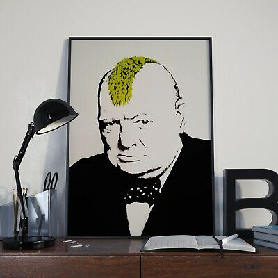 Banksy Winston Churchill With Mohican Graffiti Poster Print Picture A3 A4