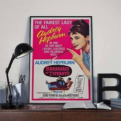 Breakfast At Tiffanys Audrey Hepburn Movie Film Poster Print Picture A3 A4