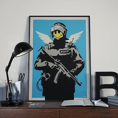 Banksy Smiley Face Armed Police  Stencil Graffiti Art Poster Print Picture A3 A4
