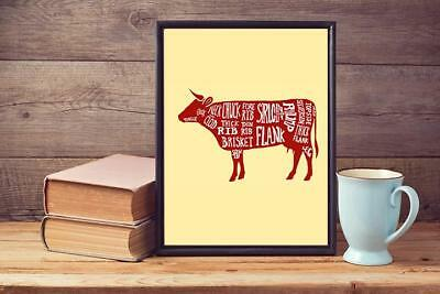 Cow Beef Meat Steak Cuts Butchers Diagram Kitchen Print Poster Picture A3 A4