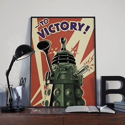Retro Dr Who Daleks To Victory Poster Print Picture A3 A4