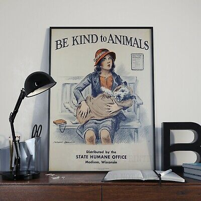 Vintage Be Kind To Animals Dog Drawing Advert Print Poster Picture A3 A4