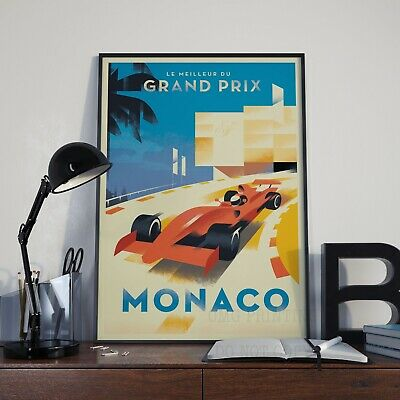 Vintage Art Deco Monaco F1 Racing Travel Grand Prix Print Poster Picture A3 A4