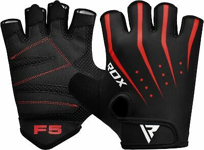 RDX Weight Lifting Gloves Wrist Bodybuilding Gym Training Grip Workout Red F5