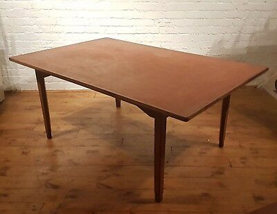 Vtg Large Antique Solicitors Leather Vinyl Rustic Dining Table Desk Industrial