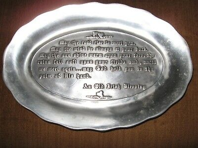 "Oval Tray AN OLD IRISH BLESSING Pewter Bread Platter 10.5"" across Vtg Pewtarex"