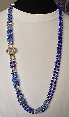 Antique/vtg Deco French Couture Dbl Strand Long Asymmetric Glass Bead Necklace