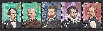 GB 1973 QE2 British Explorers Set of 5 used stamps ( A1151 )