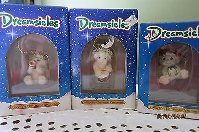 Dreamsicles Ornaments lot of 3 -  drummer, present, horn DX281,DX296, DX289 IB