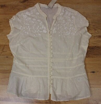 Womens Mark & Spencer Hand Embroidered Cotton Cream Top Blouse Size 20 New