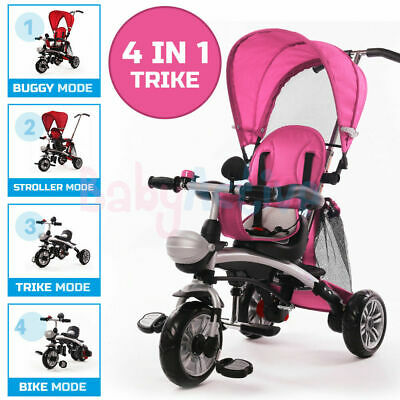 Kids 4 In 1 Ride 3 Wheel Baby Trike Tricycle Stroller Buggy Bar Push Bike
