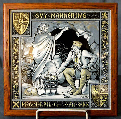 "RARE LARGE 8"" FRAMED MINTON GUY MANNERING FRAMED TILE by JOHN MOYR SMITH"